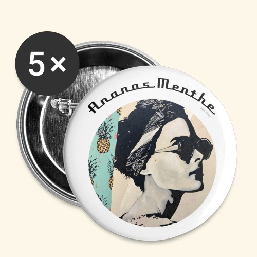 Ananas Menthe - Chrystelle Gouy - Lot de 5 grands badges (56 mm)