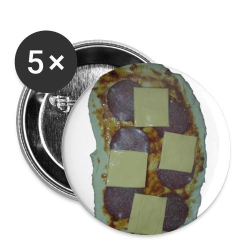 gueffelspizza ausgeschnit - Buttons groß 56 mm (5er Pack)