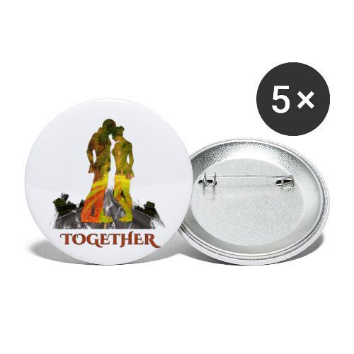Together -by- T-shirt chic et choc - Lot de 5 grands badges (56 mm)