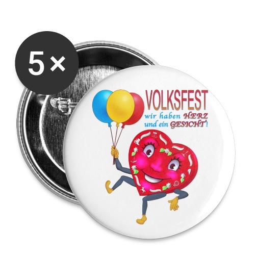Herz aufgestuetzt - Buttons groß 56 mm (5er Pack)