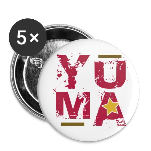 yuma rose jaune kaki - Lot de 5 grands badges (56 mm)