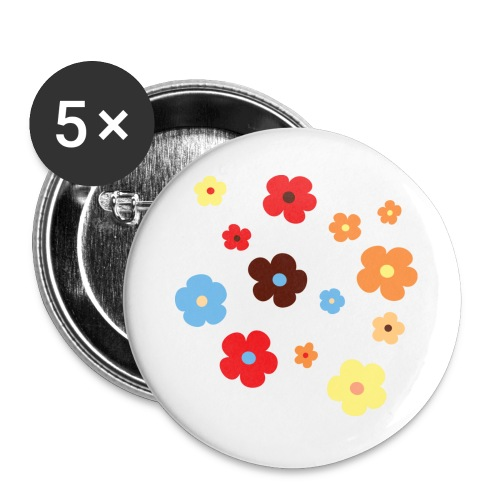 bloemmetjes - Buttons groot 56 mm (5-pack)