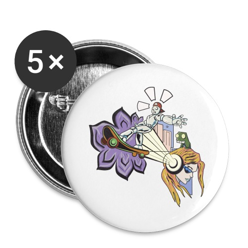 Spring Doodle - Buttons groot 56 mm (5-pack)