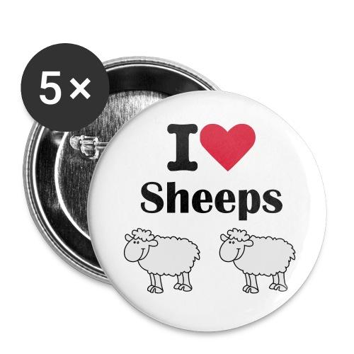 I-love-sheeps - Lot de 5 grands badges (56 mm)