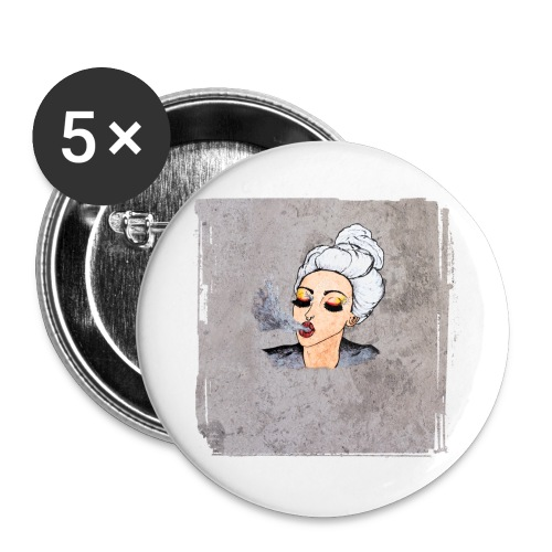 Girl blowing air or else - Buttons large 2.2''/56 mm(5-pack)