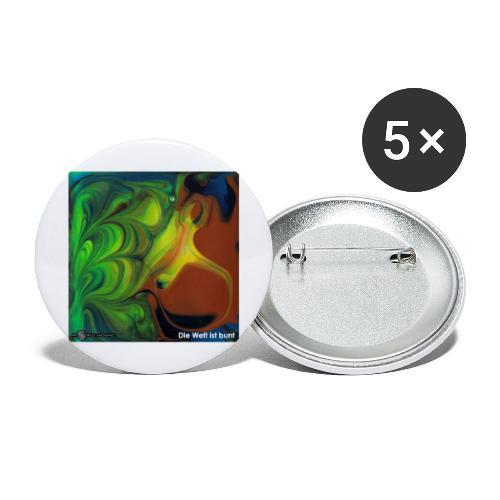 TIAN GREEN Mosaik CH069 - Die Welt ist bunt - Buttons groß 56 mm (5er Pack)