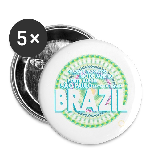Lemon Brazil Mandala - Lot de 5 grands badges (56 mm)