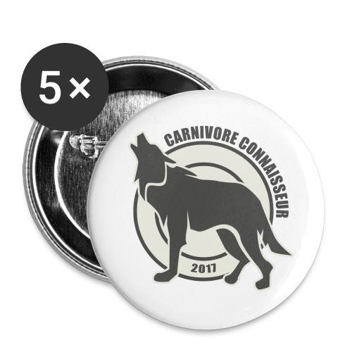 Fleischfresser - Grillshirt - Der mit dem Wolf heu - Buttons groß 56 mm (5er Pack)