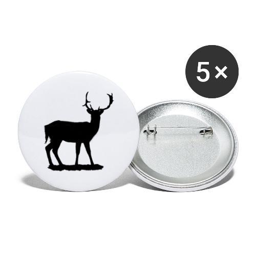 Silueta ciervo en negro - Paquete de 5 chapas grandes (56 mm)