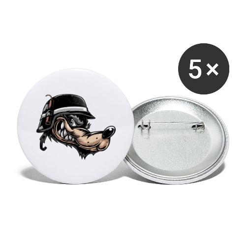 Wolf mit Helm - Buttons groß 56 mm (5er Pack)