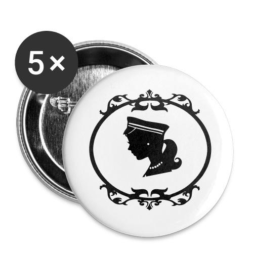 Mädel oval 1 farbig - Buttons groß 56 mm (5er Pack)