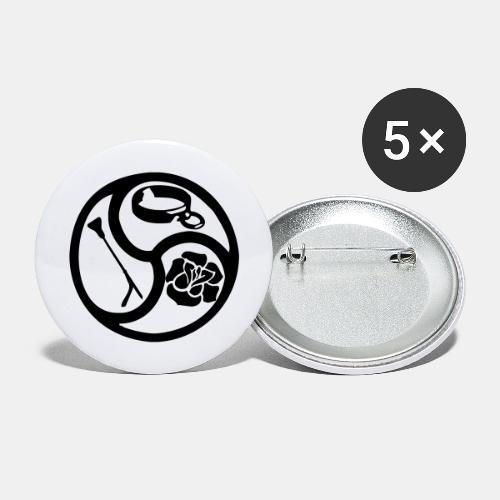 Triskele triskelion BDSM Emblem HiRes 1 color - Buttons groß 56 mm (5er Pack)