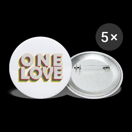 ONE LOVE - Buttons groß 56 mm (5er Pack)