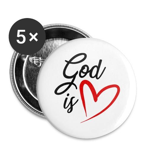 God is love 2N - Confezione da 5 spille grandi (56 mm)