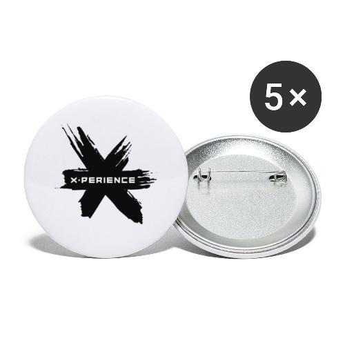 x-perience - Das neue Logo - Buttons groß 56 mm (5er Pack)