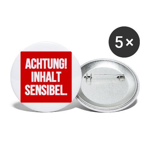 Achtung! Inhalt sensibel. - Buttons groß 56 mm (5er Pack)