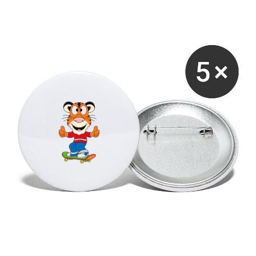 Lustiger Tiger - Skateboard - Sport - Kids - Baby - Buttons groß 56 mm (5er Pack)