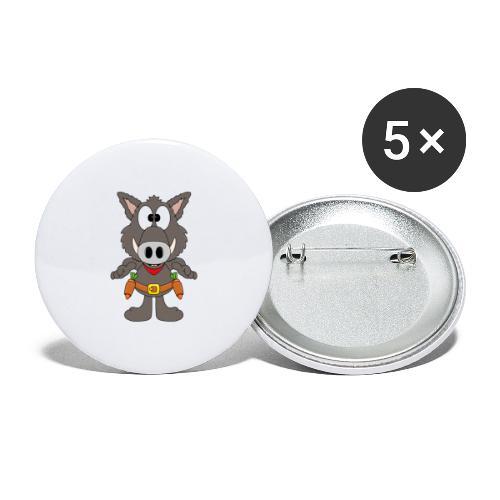 Lustiges Wildschwein - Cowboy - Möhren - Gemüse - Buttons groß 56 mm (5er Pack)