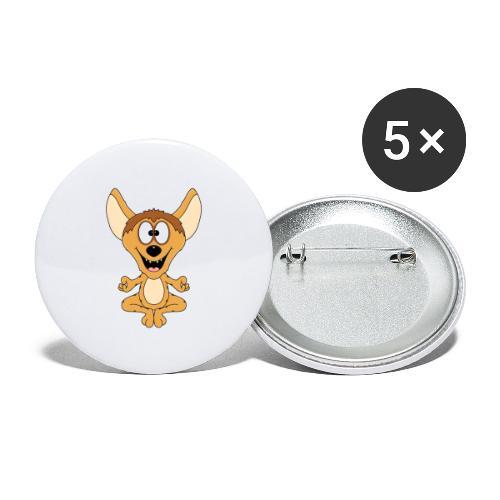 Lustige Hyäne - Yoga - Chillen - Relaxen - Fun - Buttons groß 56 mm (5er Pack)