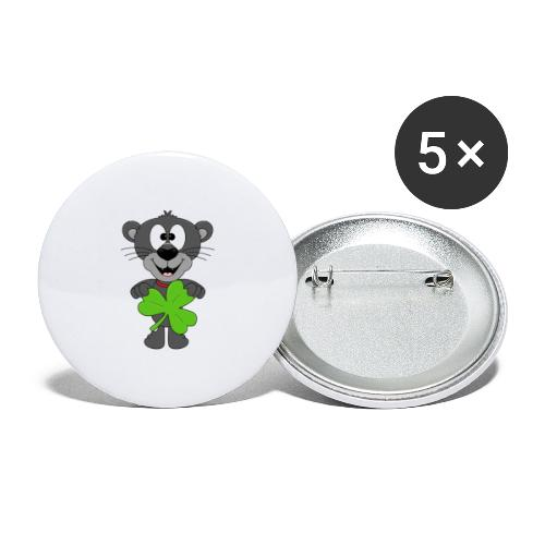 Lustiger Panther - Kleeblatt - Tier - Kids - Fun - Buttons groß 56 mm (5er Pack)
