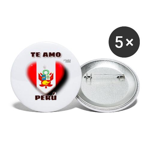 Te Amo Peru Corazon - Buttons groß 56 mm (5er Pack)