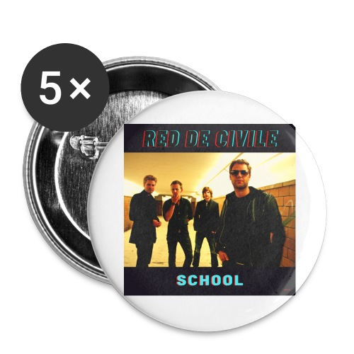 School - Buttons/Badges stor, 56 mm (5-pack)