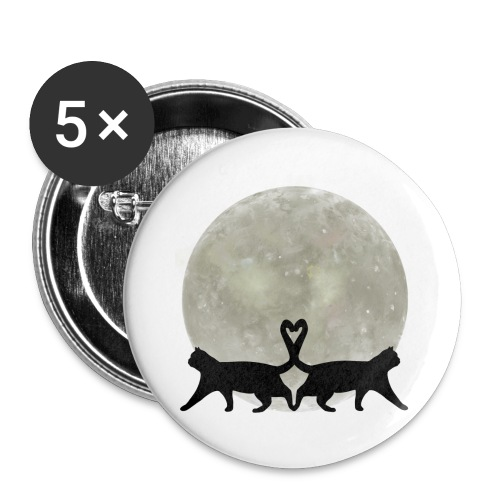 Cats in the moonlight - Buttons groot 56 mm (5-pack)