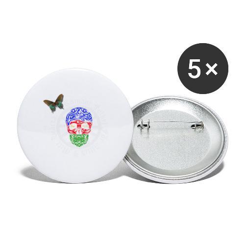 LennyhjulRomaniFolketivitfjerliskulle - Stora knappar 56 mm (5-pack)