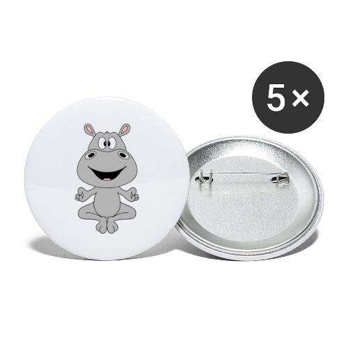 FLUSSPFERD - HIPPO - NILPFERD - YOGA - PILATES - Buttons groß 56 mm (5er Pack)