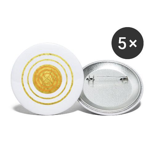 Glückssymbol Sonne - positive Schwingung - Spirale - Buttons groß 56 mm (5er Pack)