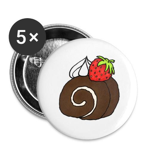 Biskuitrolle Schokolade mit Sahne und Erdbeere - Buttons groß 56 mm (5er Pack)