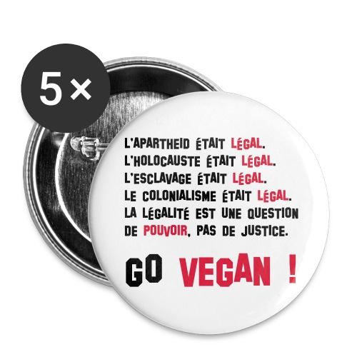 GO VEGAN - Lot de 5 grands badges (56 mm)