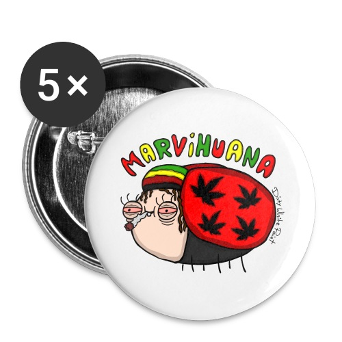Marvihuana - Buttons groß 56 mm (5er Pack)