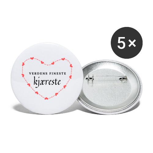 Verdens fineste kjæreste - Stor pin 56 mm (5-er pakke)