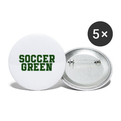 Soccer Green Style Text - Confezione da 5 spille grandi (56 mm)