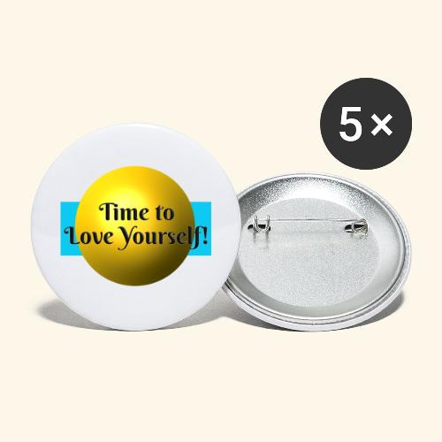 Time to Love Yourself - Buttons groß 56 mm (5er Pack)