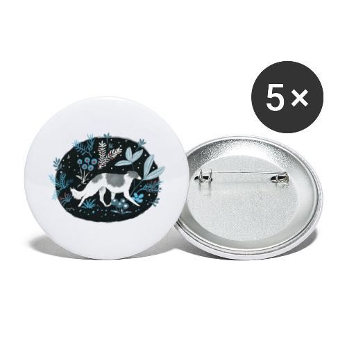 Barsoi im Mitternachtswald - Buttons groß 56 mm (5er Pack)