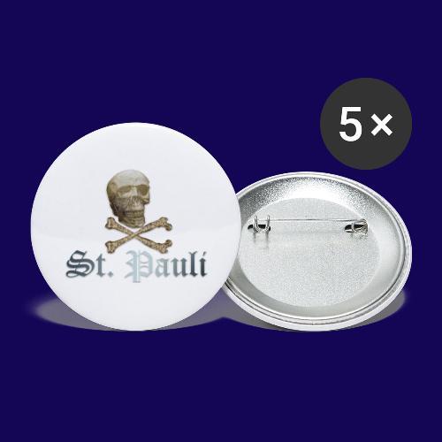 St. Pauli (Hamburg) Piraten Symbol mit Schädel - Buttons groß 56 mm (5er Pack)