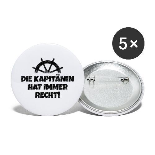 Die Kapitänin hat immer Recht Boot & Segeln - Buttons groß 56 mm (5er Pack)