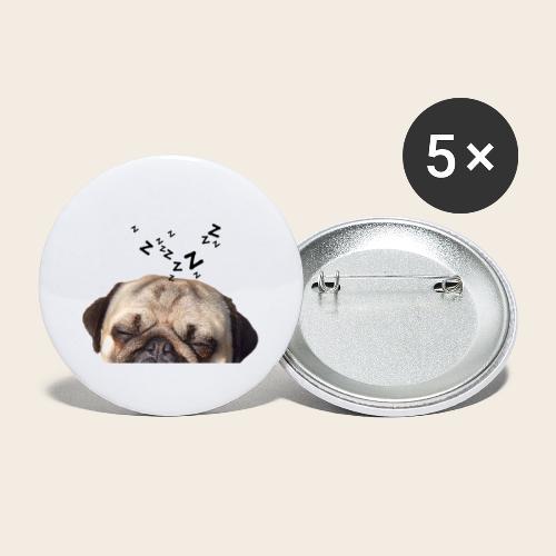 mops-schnarcht - Buttons groß 56 mm (5er Pack)