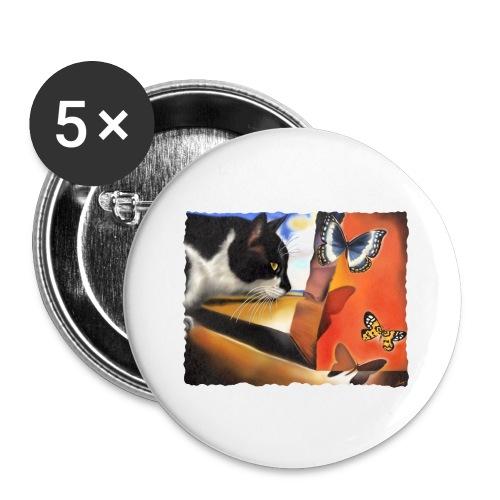 Il gatto di Dalí - Confezione da 5 spille grandi (56 mm)