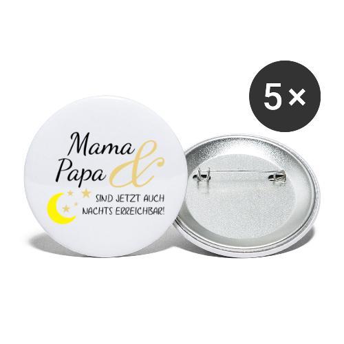 mama papa nachs erreichbar 01 - Buttons groß 56 mm (5er Pack)
