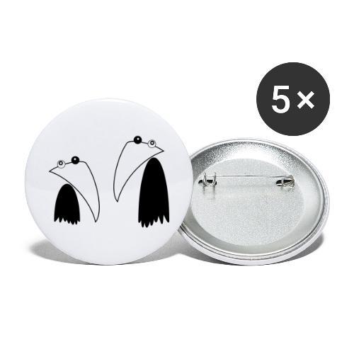 Raving Ravens - black and white 1 - Buttons groß 56 mm (5er Pack)