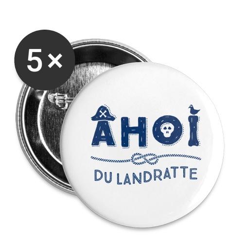 Ahoi du Landratte - maritimer Spruch - Buttons groß 56 mm (5er Pack)