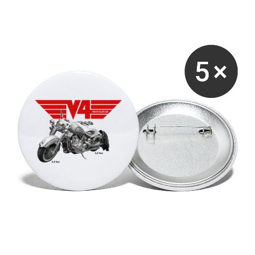 V4 Motorcycles red Wings - Buttons groß 56 mm (5er Pack)