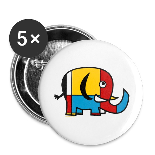 Mondrian Elephant - Buttons large 2.2''/56 mm(5-pack)