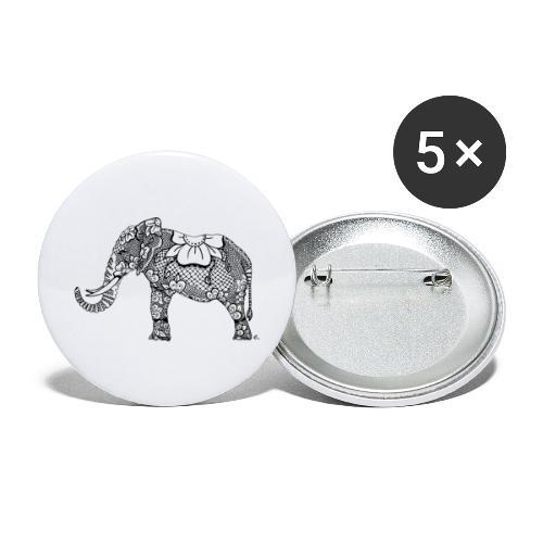 Éléphant oriental - Lot de 5 grands badges (56 mm)