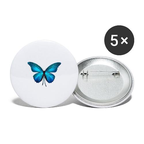 butterflyblau - Buttons groß 56 mm (5er Pack)