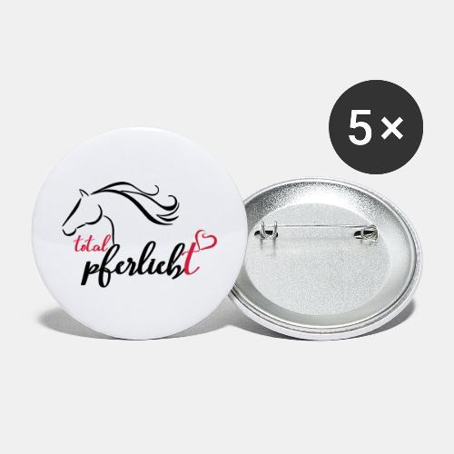 total pferliebt, Pferdeliebe - Buttons groß 56 mm (5er Pack)