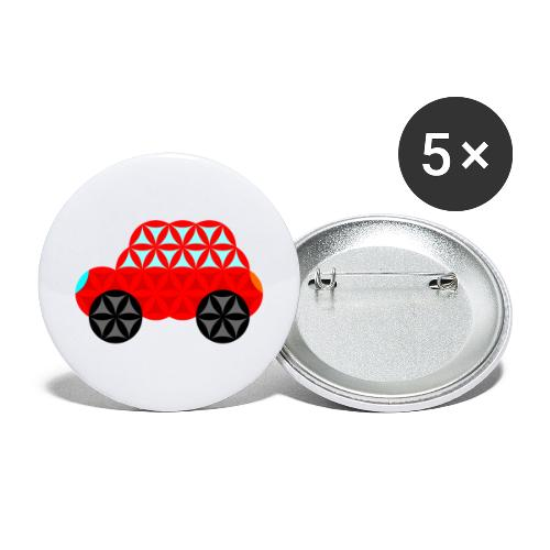 The Car Of Life - M01, Sacred Shapes, Red/R01. - Buttons large 2.2''/56 mm(5-pack)